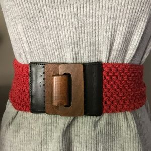 Accessories - Coral Crochet Wooden Buckle Stretch Waist Belt OS